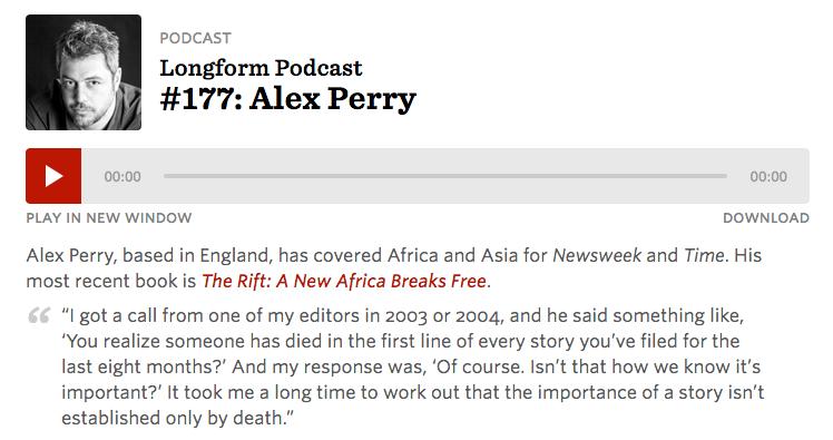 Alex Perry Longform Podcast #177: Alex Perry - Alex Perry